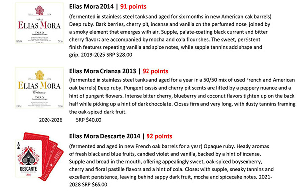 Vinous evaluate Elias Mora