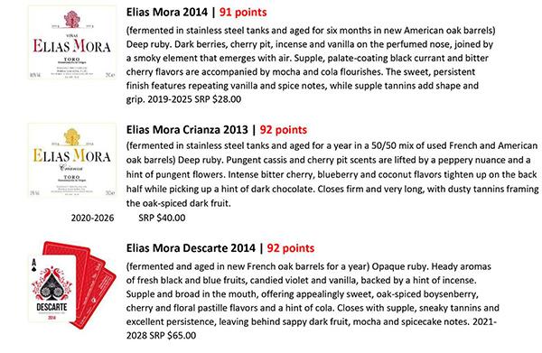 Vinous valora los vinos de Elias Mora